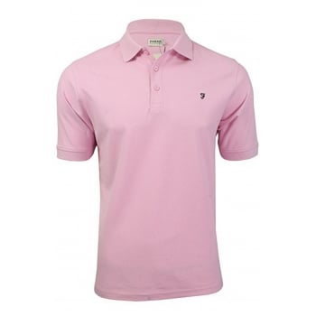Farah Mens New Casual Cove Plain Polo Shirts Pink