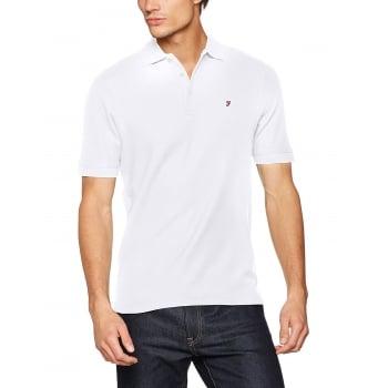 Farah Mens New Casual Cove Plain Polo Shirts White