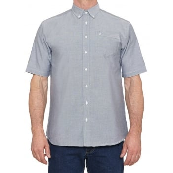 Farah Mens Short Sleeve Regular Fit Oxford Shirt 'The Drayton' Navy