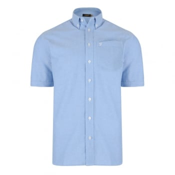 Farah Mens Short Sleeve Regular Fit Oxford Shirt 'The Drayton' Regatta Blue