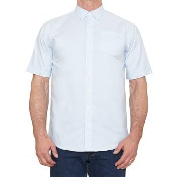Farah Mens Short Sleeve Regular Fit Oxford Shirt 'The Drayton' Regatta Bluewater