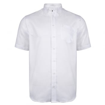 Farah Mens Short Sleeve Regular Fit Oxford Shirt 'The Drayton' White