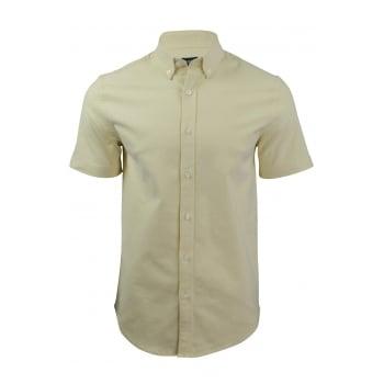 Farah Mens Short Sleeve Regular Fit Thompson Oxford Shirt Pastel Yellow