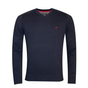 Farah Mens Stern Knitted V Neck Jumper Peacoat Blue