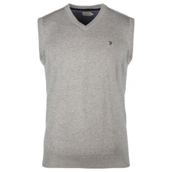 Farah Mens Stern Tank Top Vest Knitted V Neck Jumper Grey Marl