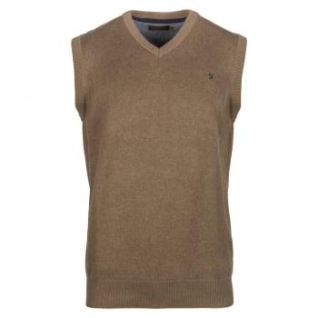 Farah Mens Stern Tank Top Vest Knitted V Neck Jumper Smoke