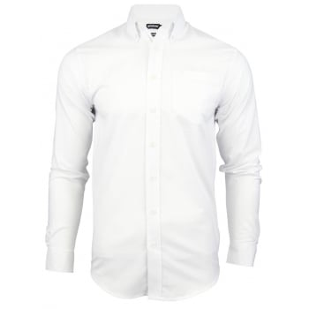 Farah Mens Thompson Oxford Shirt Long Sleeve Regular Fit White