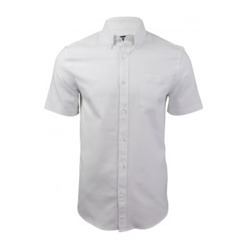 Farah Mens Thompson Short Sleeve Regular Fit Oxford Shirt White