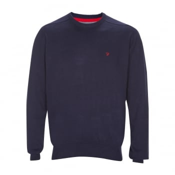 Farah Stern Knitted Crew Neck Jumper Peacoat Blue