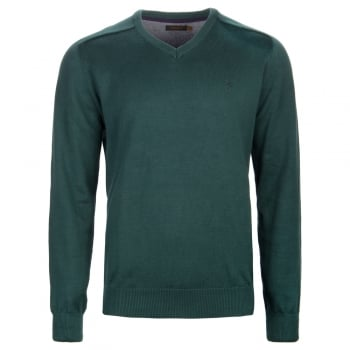 Farah Stern Knitted V Neck Jumper Deep Teal