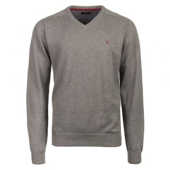 Farah Stern Knitted V Neck Jumper Grey Melange