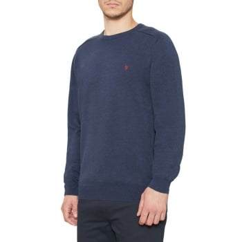 Farah Stern Mens Knitted Crew Neck Jumper Midnight Melange