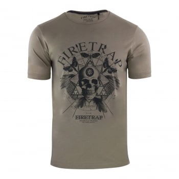 Firetrap Mens Dokis Cotton Crew Neck Short Sleeve Tee Morel