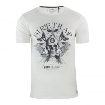 Firetrap Mens Dokis Cotton Crew Neck Short Sleeve Tee Vapous Grey