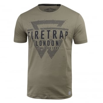 Firetrap Mens Morrin Cotton Crew Neck Short Sleeve Tee Laurel Oak