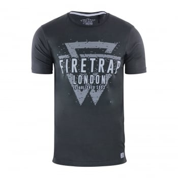 Firetrap Mens Morrin Cotton Crew Neck Short Sleeve Tee Raven