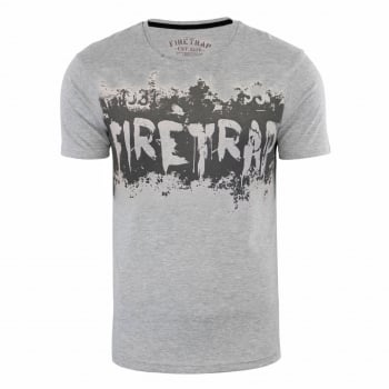 Firetrap Mens Ruxton Branded Designer Casual Blackseal T Shirt Grey Marl
