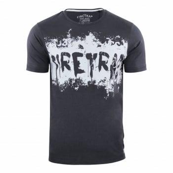 Firetrap Mens Ruxton Branded Designer Casual Blackseal T Shirt Raven