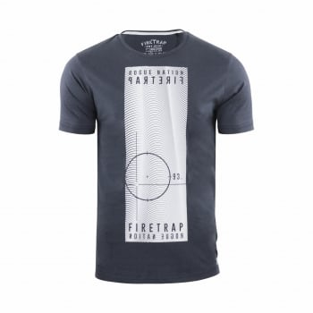 Firetrap Mens Tabb Branded Designer Casual Blackseal T Shirt Raven