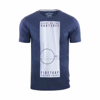 Firetrap Mens Tabb Branded Designer Casual Blackseal T Shirt Total Eclipse
