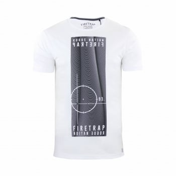 Firetrap Mens Tabb Branded Designer Casual Blackseal T Shirt White