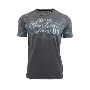 Firetrap Skulpin Designer Casual Blackseal T Shirt Black