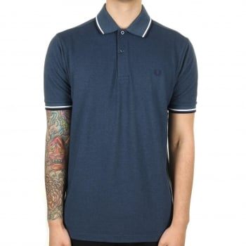 Fred Perry M1200 Twin Tipped Plain Polo Shirt Lake Oxford