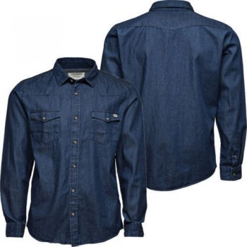 Jack & Jones Casual Button Up Denim Shirt Dark Stonewash