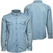 Casual Button Up Denim Shirt Light Wash
