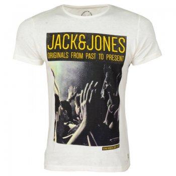 Jack & Jones Casual Designer Crew Neck Floor T-Shirt Cloud Dancer