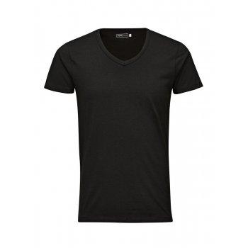 Jack & Jones Casual V Neck Quality Plain T-Shirts Black