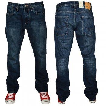 "Jack & Jones Clark Comfort Fit 36"" Leg Jeans Dark Used Look"