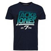 Jack & Jones Designer Retro Sport Crew Neck T Shirt Navy Blazer