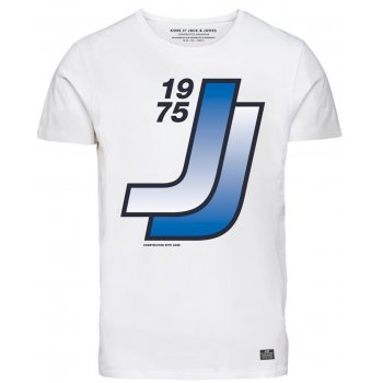 Jack & Jones Designer Retro Sport Crew Neck T Shirt White