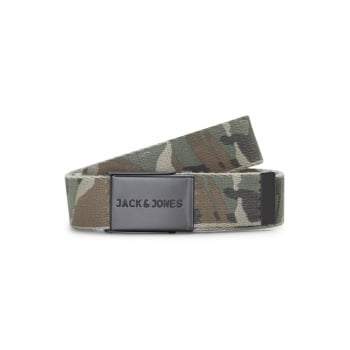 Jack & Jones Jack and Jones Adults Designer Tom Camoflage Woven Belt Olive Night