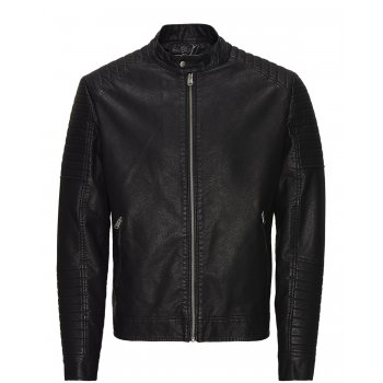Jack & Jones Jack and Jones Mens Designer Casual Tano Biker Jacket Black
