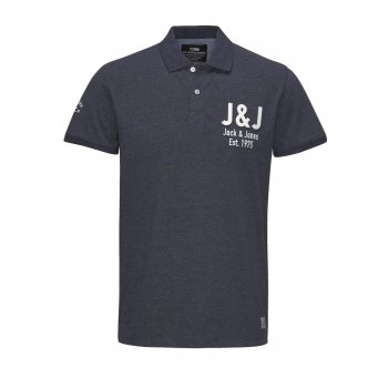 Jack & Jones Casual Branded Moss Polo Shirt Navy Blazer