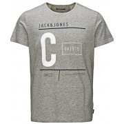 Jack & Jones Casual Tag Detailed T Shirt Grey