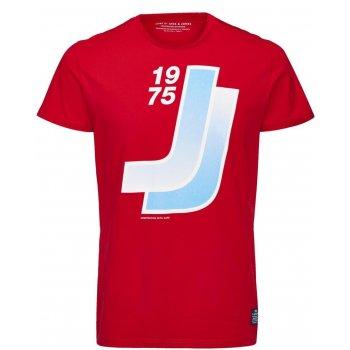 Jack & Jones Designer Retro Sport Crew Neck T Shirt Red