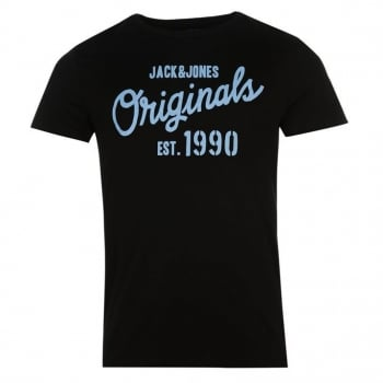Jack & Jones Mens Designer Join Branded T Shirt Black