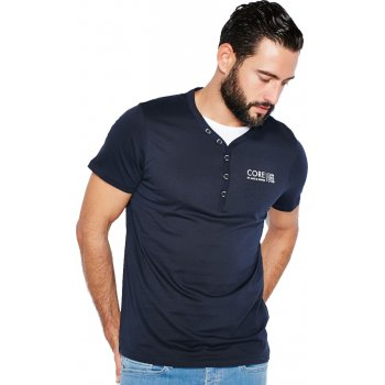 Jack & Jones Paven Split Neck T-Shirt Black Navy