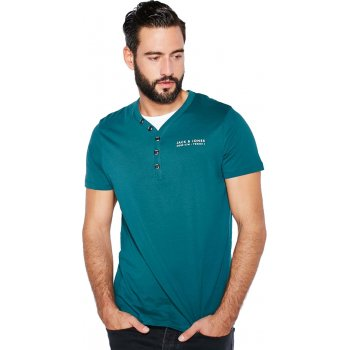 Jack & Jones Paven Split Neck T-Shirt Dark Teal