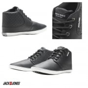 Jack & Jones Vertu Mixed PU Sneakers High Top Core Trainers Pumps Black