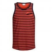 Jack & Jons Mens Designer Striped Branded Craig Tank Vest Cherry Tomato