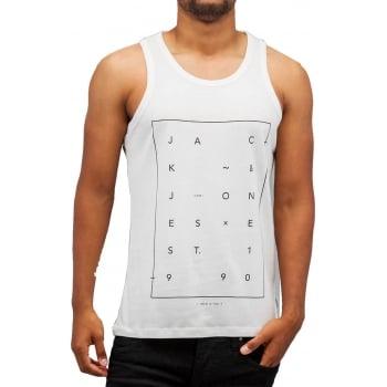 Jack & Jones Jcoair Mens Branded Fresh Tank Vest Blanc De Blanc