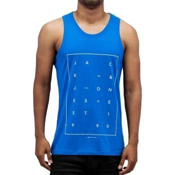 Jack & Jones Jcoair Mens Branded Fresh Tank Vest Directoire Blue