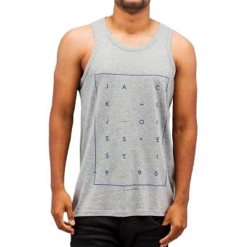 Jack & Jones Jcoair Mens Branded Fresh Tank Vest Light Grey Melange