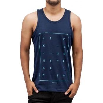 Jack & Jones Jcoair Mens Branded Fresh Tank Vest Navy Blazer