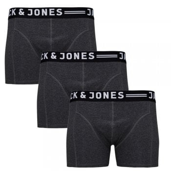 Jack & Jones Mens 3 Pack Sense Boxer Trunks Shorts Charcoal
