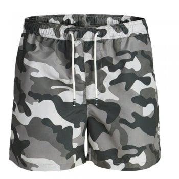 Jack & Jones Mens Army Camoflage New Cali Swim Shorts Charcoal